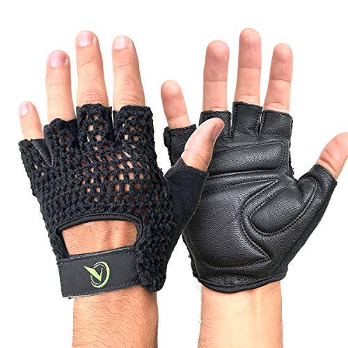 All-Purpose Padded Leather Cycling Driving Weight Lifting Wheelchair Gloves