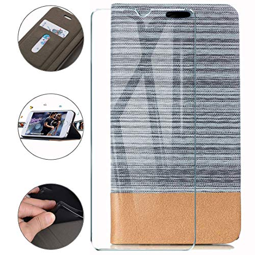 HYMY Hülle für Nubia Red Magic 5G Lite + Schutzfolie - Einfacher Stil Leinwand-Stitching PU Lederhülle Flip mit Card Slot Handyhülle Case für Nubia Red Magic 5G Lite - Grau
