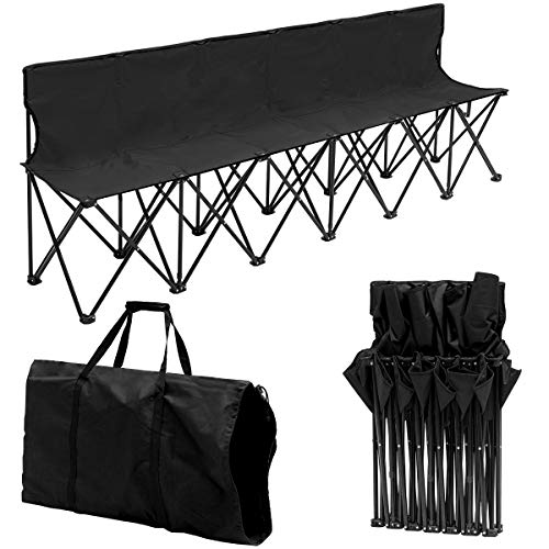 Giantex Portable Folding 6 Seats Chair Sideline Bench W/Seat Backs & Carry Bag Sports Team Camping (Black)