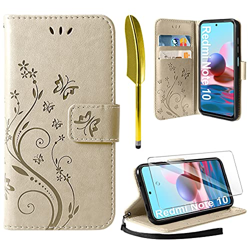 AROYI Cover Compatibile con Xiaomi Redmi Note 10 4G/Note 10S, Retro Design Flip Caso in PU Pelle Premium Portafoglio Slot per Schede Chiusura Magnetica Custodia Gold