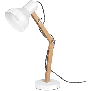 Tomons Wood Adjustable Head Desk Lamp, Designer Table Lamp, Reading Lights, Study Lamp, Work Lamp, Office Lamp, Bedside Nightstand Lamp - White