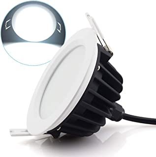 Lámpara empotrada de 12 W, LED, para techo empotrado, lámpara de paneles, impermeable, IP65, para cuarto de baño y dormitorio, iluminación interior exterior (6000 K, AC220 V-240 V, pack de 1)