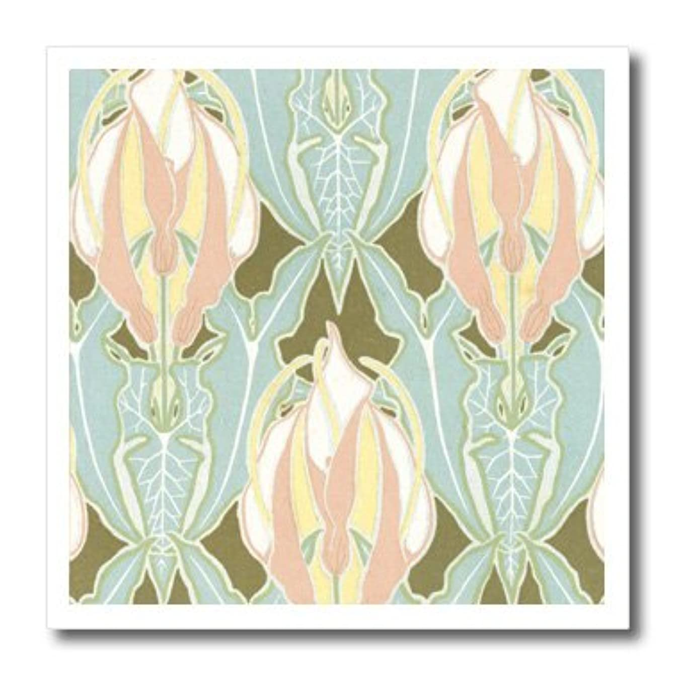 3dRose ht_113421_1 Lovely Ornate Pastel Pink Flowers with Blue Leaves Nature Floral Vintage Art Nouveau Design-Iron On Heat Transfer, 8 by 8