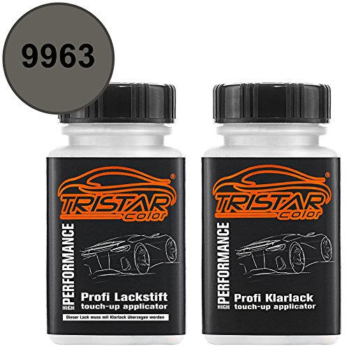 TRISTARcolor Autolack Lackstift Set für Mercedes/Daimler Benz 9963 Indiumgrau Metallic/Iridium Grey Metallic Basislack Klarlack je 50ml
