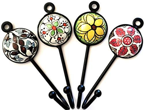 Set mit 4 gemischten Keramikhaken im Vintage-/Shabby-Chic-Look für Mäntel, Kleidung, Schmuck und Schlüsselhaken für Wand oder Tür, schöne Kleiderbügel von FFF