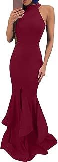 Womens Elegant Ruffles Sleeveless Split Evening Mermaid Maxi Dress