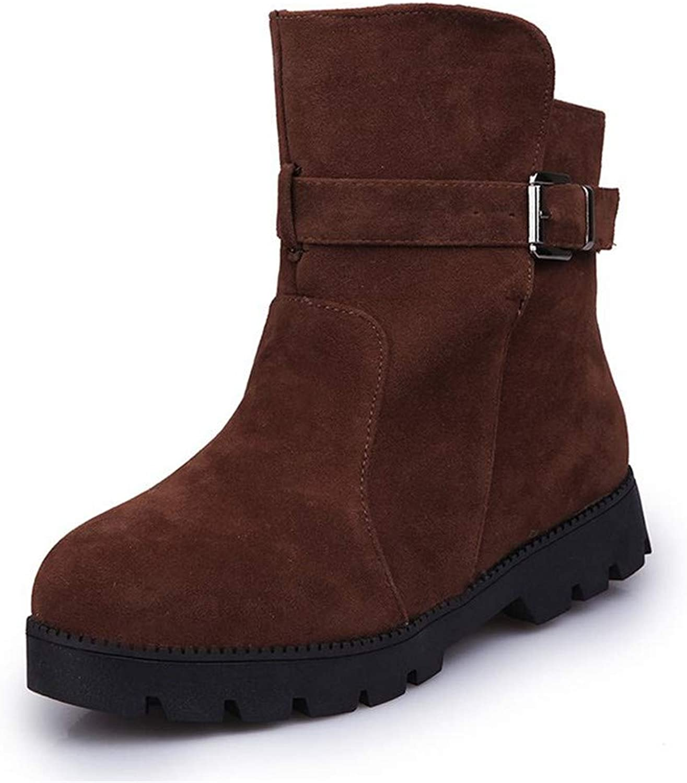 LLRCAZR Schneeschuhe Plus Größe Winter Frauen Stiefeletten Plattform Warm Kunstpelz Schnee Stiefel Flock Schnalle Weiblichen Niedrigen Ferse Schuhe Flach