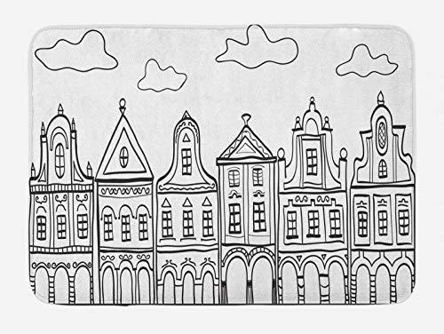 ABAKUHAUS Amsterdam Tappetino da Bagno, Village Houses Tema, Vasca Doccia WC Tappeto in Peluche con Supporto Antiscivolo, 45 cm x 75 cm, Bianco Charcoal Grey