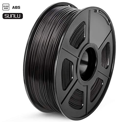 SUNLU Filamento ABS 1.75, Stampante 3D ABS Filamento 1kg Spool Tolleranza del diametro +/- 0,02 mm,ABS nero