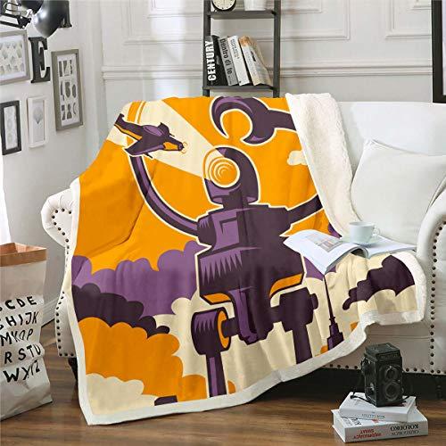 Tecknad utomjording plysch filt planeter yttre rymden sherpa filt övernaturliga kampanj varelser fleece överkast för soffa säng soffa vuxna cool luddig filt ultramjuk rum dekor dubbel 60 tum x 200 cm
