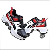 Okls dt 2 in 1 Multifunctional Telescopic Self-propelled Wheel Skate Skating Invisible Double Wheel Roller Deformation Modification Skates Black Red-39 Durable x (Color : BlackRed, Size : 37)