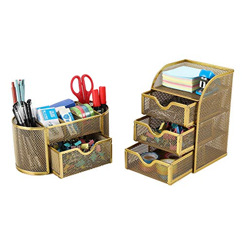 PAG Office Supplies Desktop Organizers and Accessories Storage Caddy with Drawer Mesh Pencil Holder Set for Women Girls Gold