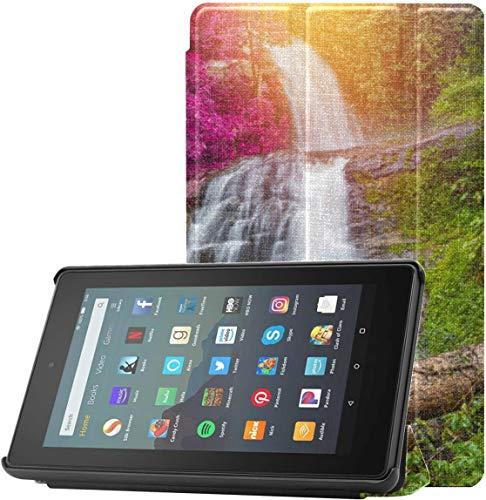 Custodia per Kindle Fire 7 Bellissime cascate nella giungla Custodia per Kindle Hd 7 per tablet Fire 7 (9a generazione, versione 2019) Leggera con sospensione riattivazione automatica