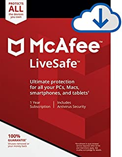 McAfee Live Safe, Unlimited Devices, Antivirus Software, Identity Security, 1 Year Subscription-[Download Code]- 2020 Ready