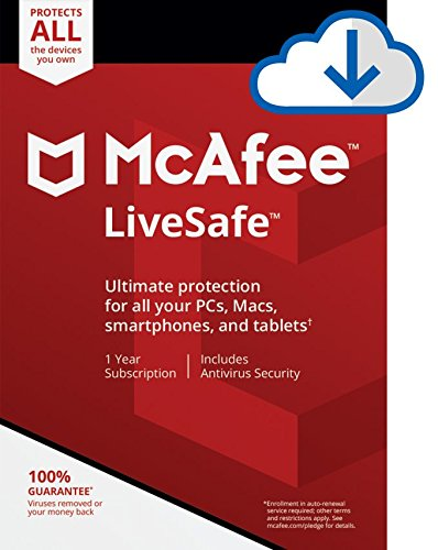 McAfee Live Safe 2020 Unlimited Devices Antivirus Internet and Identity Security Software, Safe Family, 1 Year - Download Code
