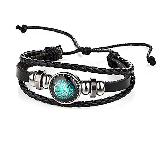 Pulsera Brazalete, Joyeria Regalo, Sale Fashion 12 Constellations Leather Zodiac Sign with Beads Bangle Bracelets For Men Boys Jewelry Travel Accessories Gifts Taurus