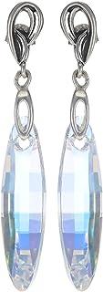Crystal Diva Women's Silver Clear Swarovski Elements Earrings