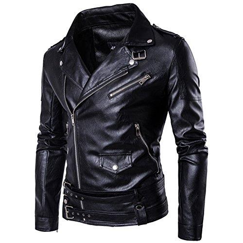 WSLCN Jaqueta masculina vintage de couro sintético para motociclista motociclista jaqueta clássica gola zíper para manter quente outono inverno preto, Preto, US L (Asian XL)