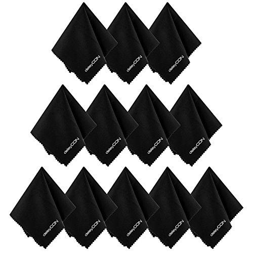 deleyCON Mikrofaser Reinigungstücher - 12 Stück - 19x20cm - Reinigung von Brillen, Kamera-Objektiven, Smartphones, Tablets, Displays