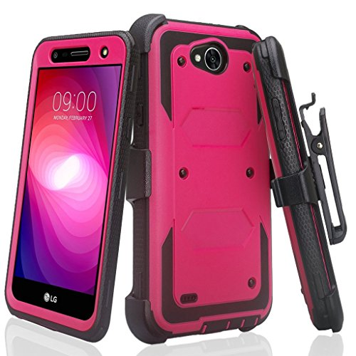 SPYCASE Rugged Holster Case Compatible for LG X Power 2/Fiesta LTE/X Charge/K10 Power/Fiesta 2 Cover [Built in Screen Protector] Heavy Duty Swivel Belt Clip Kickstand Hot Pink/Black