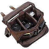 Camera Bag Vintage Canvas Shoulder Shockproof Messenger Bag SLR/DSLR (Brown)