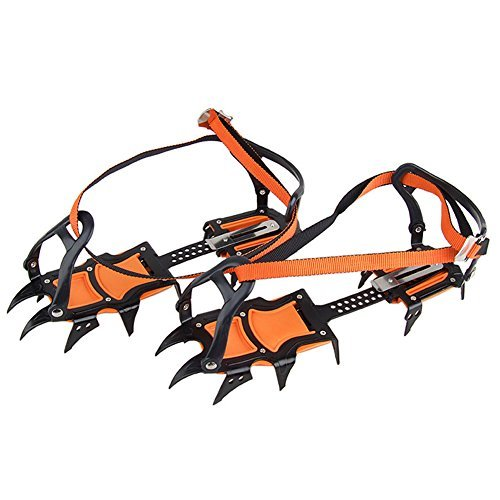 OSOPOLA eForCrazy Strape Type 12-Teeth Ice Snow Boot Shoe Covers Spike Crampons Climbing Walking Winter