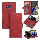 AKC Funda Compatible para Samsung Galaxy Note 9 Carcasa Caja Case con Flip Folio Funda Cuero Premium Cover Libro Cartera Magnético Caso Tarjetero y Suporte-Rojo