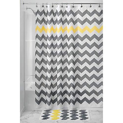 mDesign Duschvorhang Anti-Schimmel - Dusch- und Badewannenvorhang mit Zickzack-Muster - Duschvorhang wasserabweisend - 12 verstärkten Löchern für einfache Aufhängung - grau/gelb