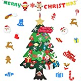 ETHEL Árbol de Navidad Fieltro, Naarbol Navideno de Fieltro, 33 Unids Adornos Navidad Desmontables, para Regalos navideños, Decoración de Navidad para Paredes y Puertas del hogar (33)