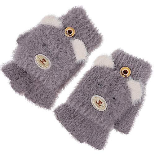SOIMISS Plüschbär Kinder Fingerlose Handschuhe Winter Warme Fleece Cartoon Handschuhe mit Klappenabdeckung Kinder (Lila)