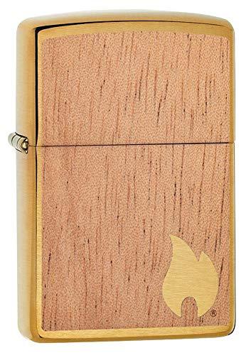Zippo Mahogany, Accendino Antivento, Ricaricabile a Benzina Unisex Adulto, Oro con placca Legno, Regular 5.7 x 3.7 x 1.2 cm