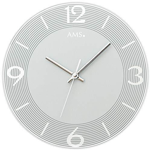 AMS - Quarzuhr - Wanduhr - rund - Mineralglas grau - schleichender Sekunde (geräuscharm)