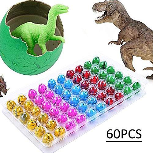 Blu7ive - 60 uova giocattolo di dinosauro colorate che si schiudono in acqua e nasce un cucciolo di dinosauro