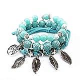 Bracelet Arbre - Trois Bracelets en Perles Naturelle avec Pendentif Arbre de Vie Porte Bonheur - Turquoise