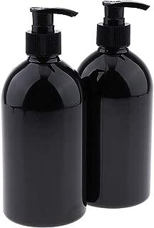 Perfeclan 2 Pack Empty Shampoo Pump Bottles 500ml, Body Wash & Shower Gel Containers - Black Pump