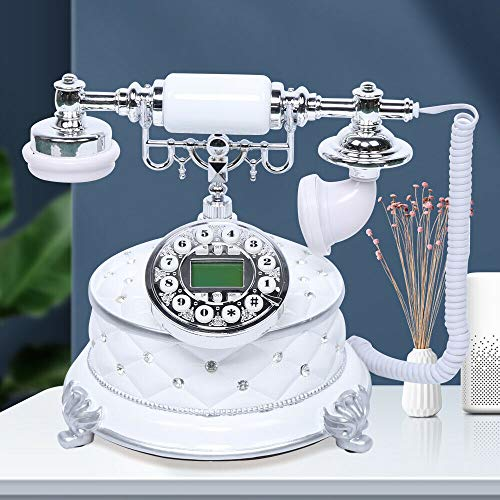 Retro Telefon, Weiß Harz Antik Festnetztelefon Retro Vintage Telefon mit Rotierender Wählscheibe für Wohnzimmer, Schlafzimmer, Hotel, Schule etc.