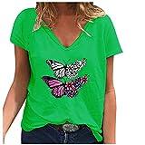Camiseta de mujer de tallas grandes, blusa gráfica, elegante, de manga corta, cuello en V, básica, para verano, túnica, Verde., XXXL