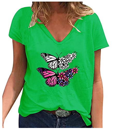 Pistaz - Camiseta de manga corta para mujer, diseño de girasol, diseño de mariposa, cuello redondo