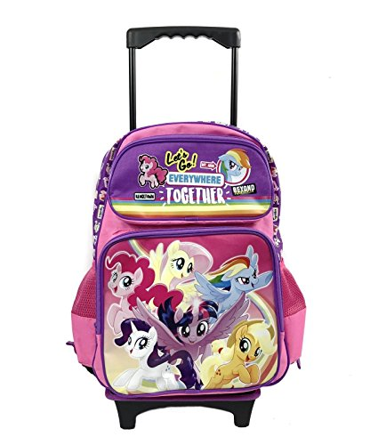 My Little Pony Purple & Pink Canvas 16' Large School Rolling Backpack Luggage-Purple