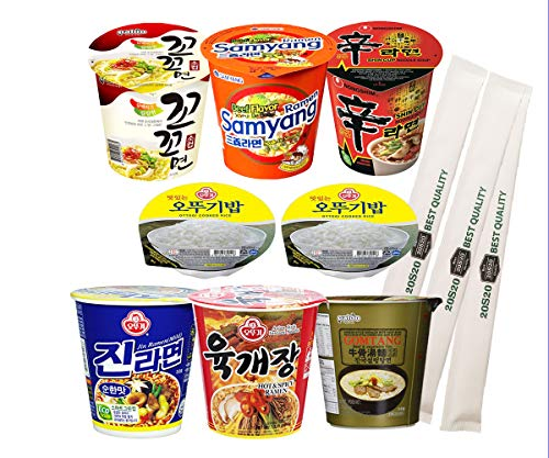 20S20 Assorted Instant Cup Noodle Soup 6 Pack with Ottogi Fresh Cooked Rice 2 Pack- Koko Samyang Gomtang Jin Remen Hot Spicy Shin Ramen for Study, Camping Hiking, or Snack (20S20 Chopsticks 3 pack)