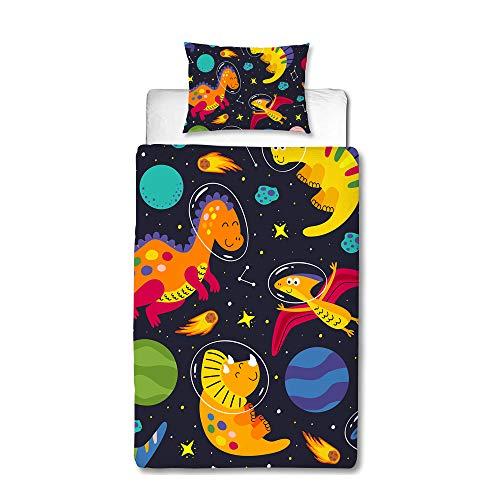 MUSOLEI Ropa de cama infantil 135 x 200, juvenil, galaxia dinosaurio, ropa de cama para adolescentes, funda de edredón para niños, suave cremallera, microfibra, funda de almohada 80 x 80 cm