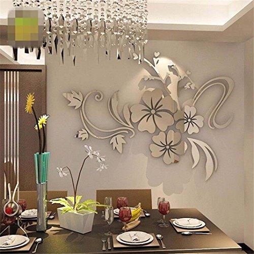 3D Wandtattoo, Kavitoz Acryl Wandaufkleber Wandsticker für Home Decor Schlafzimmer Wohnzimmer Wanddekoration (Silber)
