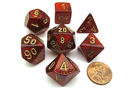 Ruby Glitter Dice with Gold Numbers 16mm (5/8in) Set of 7 Chessex