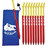 Chill Gorilla 10X Tent Stake. Heavy Duty Lightweight Strong Aluminum Alloy pegs for Camping, rain tarps, Hiking, Backpacking. Essential Camping & Survival Gear. ENO Accessory. Red