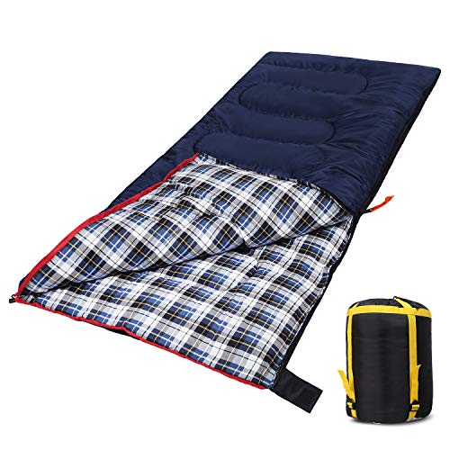 Domaker Lightweight Camping Sleeping Bag for Adults, Compact Backpacking Sleeping Bag for Hiking Travel, 3 Seasons Warm Flannel Sleeping Bag with Stuff Sack for Men/Women, Blue 2/3lbs