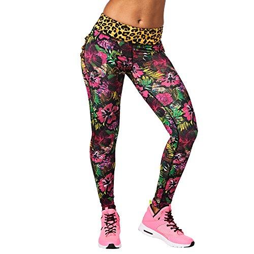 Zumba Dance Leggings Estampados Pretina Ancha de Cintura Fitness Entrenamiento Mallas de Deporte de Mujer, Pink Ruffle, XS