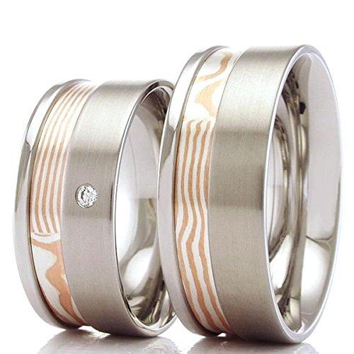 Mokume Gane Trauringe Edelstahl Silber Gold 70675-775 - Der angegebene Preis bezieht sich auf das Paar Trauringe.