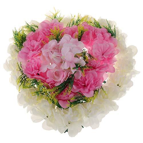 VANKOA Grabaufleger Rosen, Grabschmuck, Kunstblumen, wetterfest, Grabdekoration, Rosenblüten - Rosa