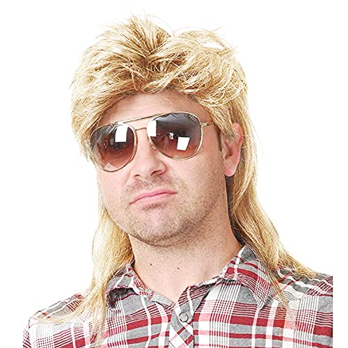 Kaneles Mullet Wigs for Men 80s Costumes Fancy Party Accessory Cosplay Wig (Light Blonde)