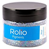 Rolio Holographic Craft Glitter - 1 Jar 28 Grams 1/64 & 1/128 Size Cosmetic-Grade for Resin, Makeup Glitter, Slime, Lip Gloss, Nails, Lipgloss, Face & Body Art, Craft Supplies (Star Clusters)